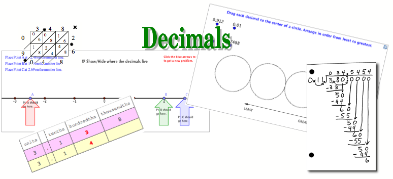 decimal operations how to add, subtract, multiply, and divide decimals math video tutorials interactive applets
